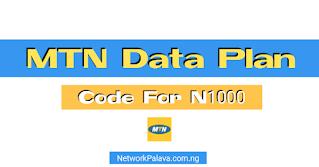 mtn data plan code for 1000 naira